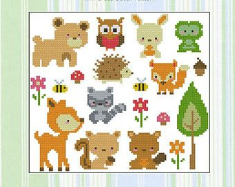 woodland creatures cross stitch - Google Search