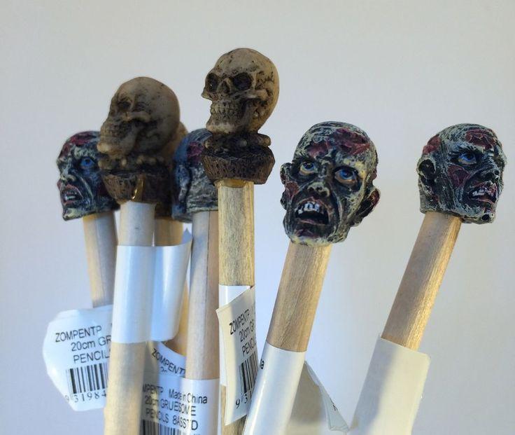 Bulk Lot Zombie Head & Skull Head Pencils x 20
