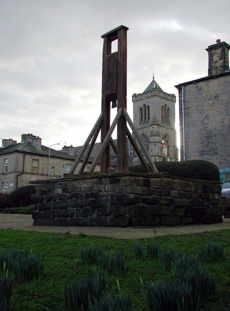 The Halifax Gibbet was an early guillotine, or decapitating machine, used in the town of Halifax, West Yorkshire, England. It was probably installed during the 16th century as an alternative to beheading by axe or sword. Halifax was once part of the Manor of Wakefield, where ancient custom and law gave the Lord of the Manor the authority to execute summarily by decapitation any thief caught with stolen goods valued at13½d or more, or who confessed to having stolen goods of at least that…