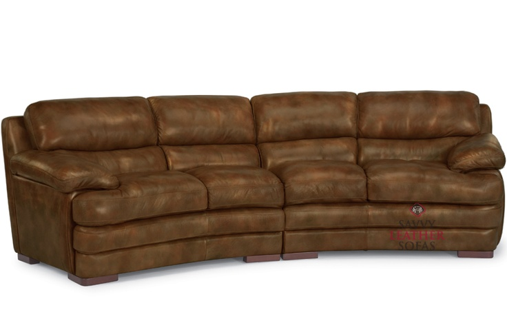 Brown Leather Flexsteel Curved Sofa Jackie Living Room