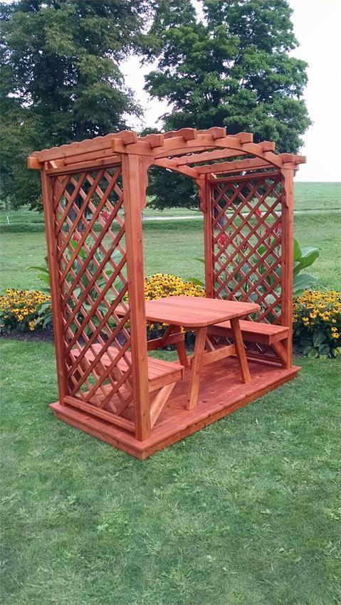 Cedar Jamesport Garden Arbor with Deck, Benches and Table