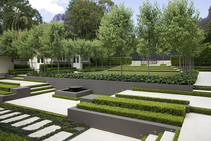 Formality with a contemporary edge.Garden designed by Peter Fudge