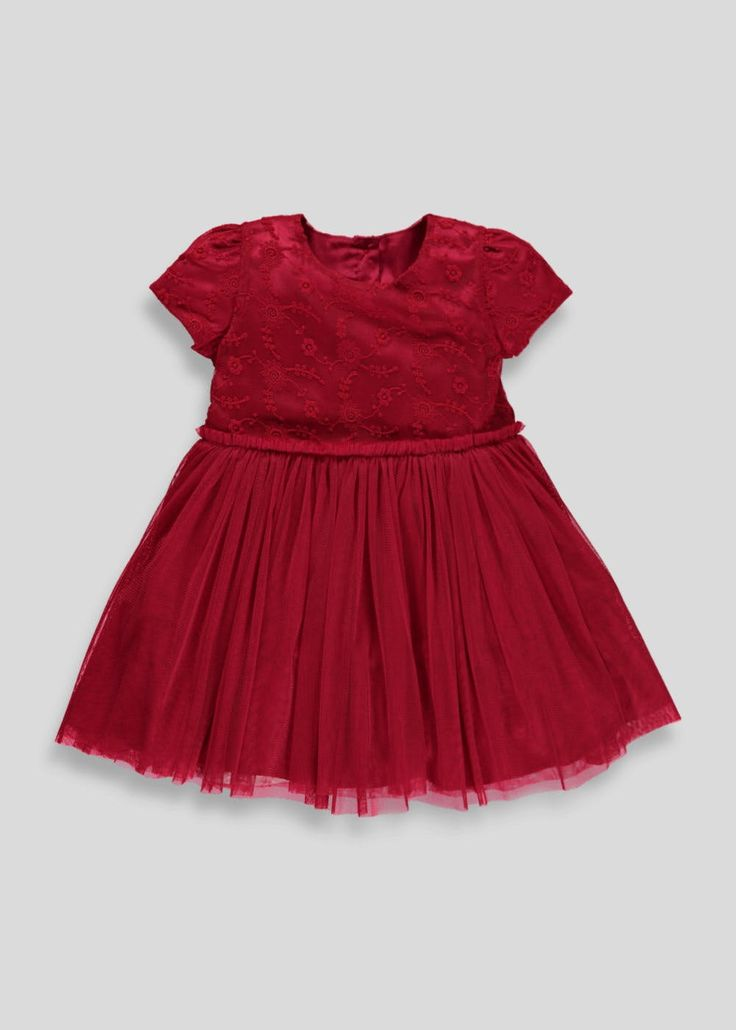 Perfect for parties, this red dress is designed with a beautiful embroidered lace bodice and cap sleeves. Fitted with a peplum hem underskirt to give a...