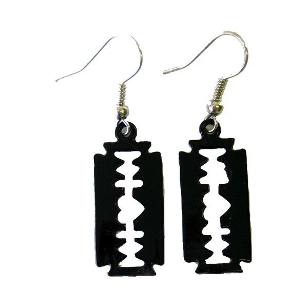 Razor Earrings Black - Alternative, Gothic, Emo Clothing (15 PLN) ❤ liked on Polyvore featuring jewelry, earrings, accessories, piercings, goth jewelry, gothic jewelry, gothic jewellery, earring jewelry and gothic earrings