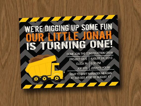 Love this! Liam's first birthday invites? Possibly..Construction - Trucks - Diggers Birthday Party Invitation DIGITAL FILE ONLY on Etsy, $14.00