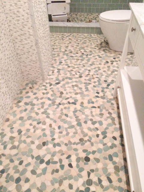 Sliced Sea Green And White Pebble Tile