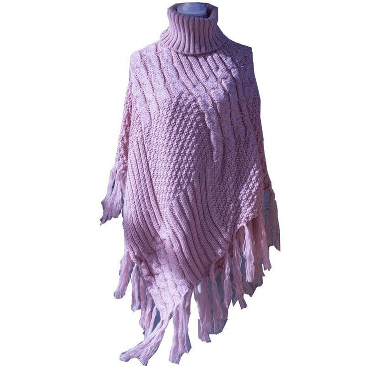Turtleneck Cable Knit Cape with Tassel Edges Pastel Pink One Size Fits Most NWT #Simi #Cape #Everyday