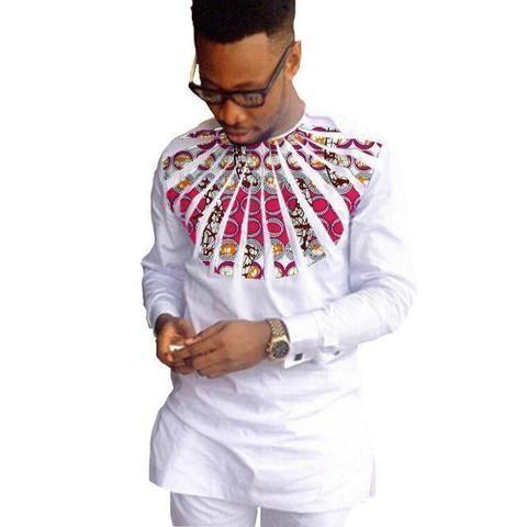 African Shirts For Men Dashiki Shirts Kitenge Shirt White-Men African Shirt-Online-1-S-Online Shopping-LeStyleParfait.Com