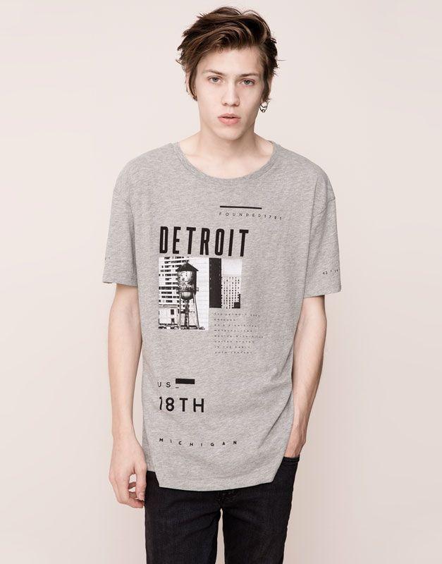 Pull&Bear - homme - t-shirts - t-shirt print manches courtes - vigoré clair - 09240556-I2015