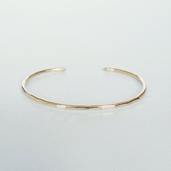 14K Gold Filled Hammered Stacking Cuff Bracelet by ShopNepheliad