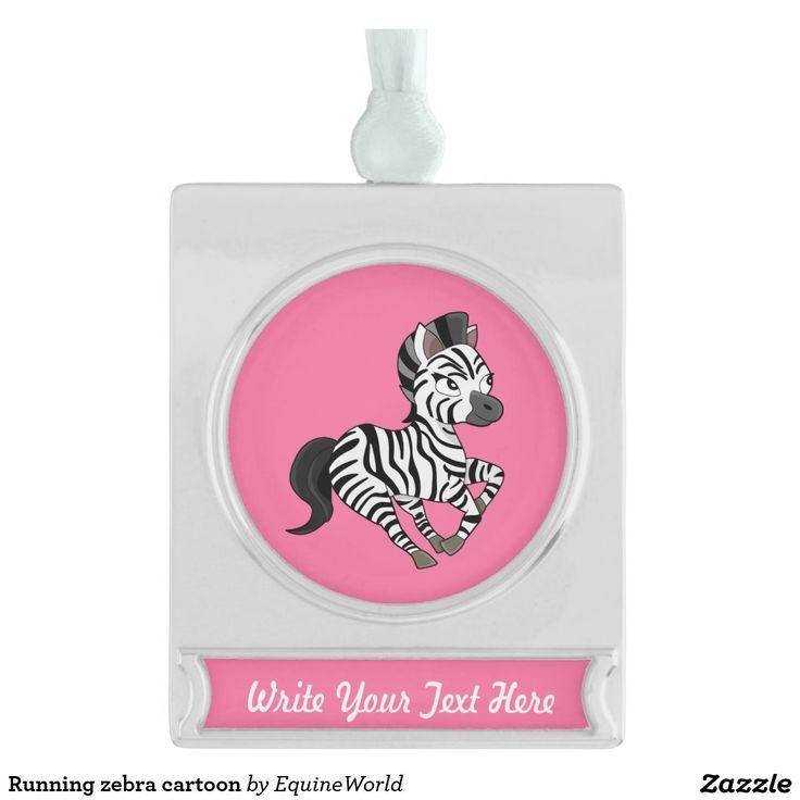 Running zebra cartoon silver plated banner ornament