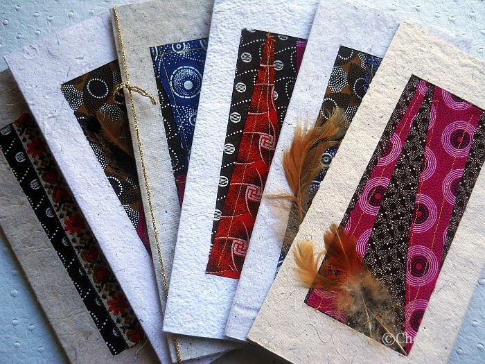Set Of 6 African Recycled Greeting Collage Cards With ShweShwe Fabric. $17.00, via Etsy.