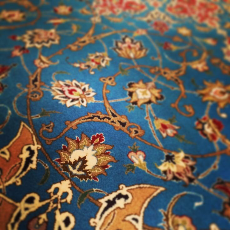 Rhapsody in Blue (detail of a hand-knotted persian Tabriz rug, wool and silk)
