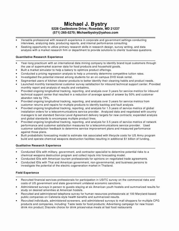 Market Research Analyst Resume Unique Michael Bystry Resume Resume Profile Data Analyst Analyst