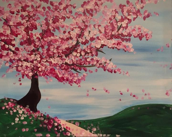 Trees Cherry Blossoms Cherry Blossom Painting Acrylic Tree Painting Cherry Blossom Painting