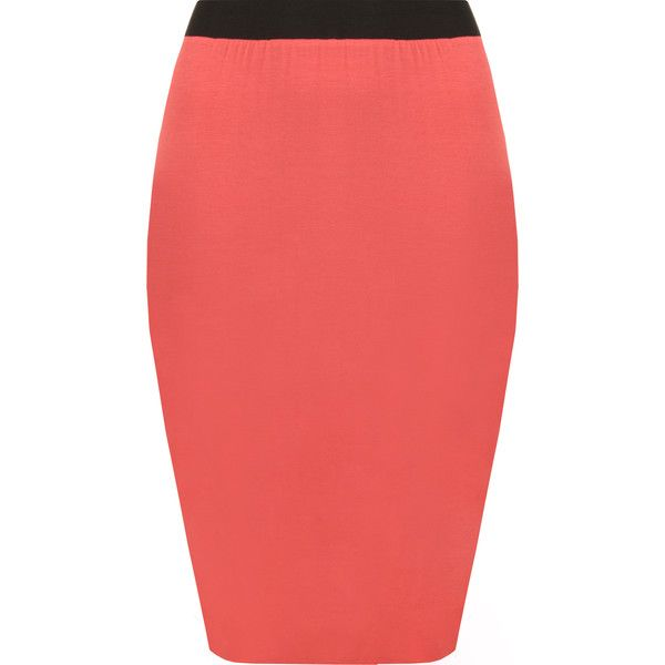 WearAll Contrast Jersey Midi Skirt ($9.02) ❤ liked on Polyvore featuring skirts, coral, pencil skirts, red knee length skirt, jersey skirt, red midi skirt and going out skirts