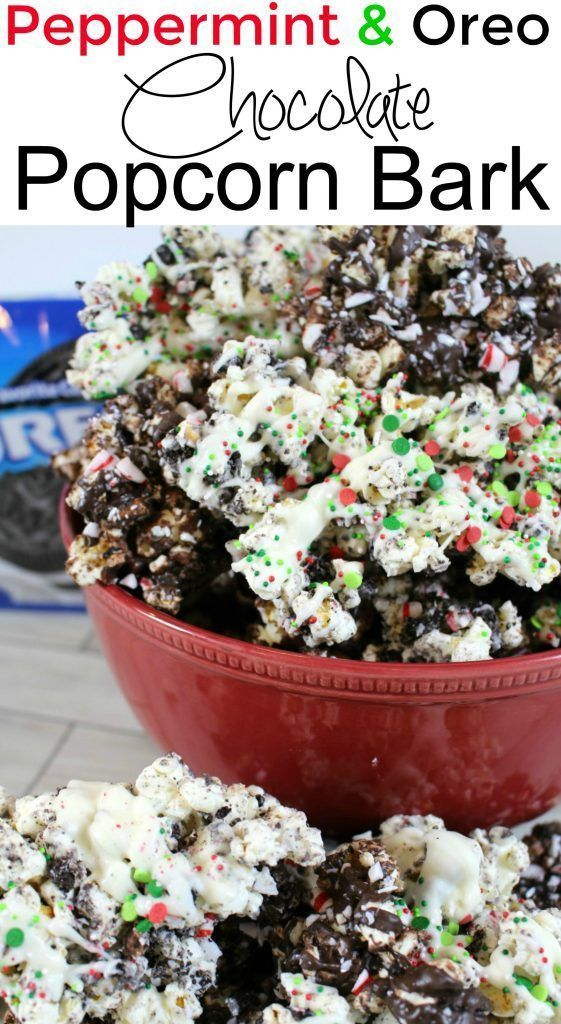 Peppermint and Oreo Chocolate Popcorn Bark
