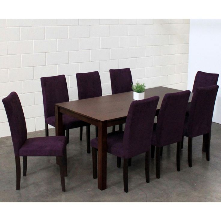 Update your dining area with this stylish, modern table with chairs covered in refined and easy-to-care-for purple microfiber fabric. The oak construction and roomy dimensions of the table ensure you can serve your guests in style.