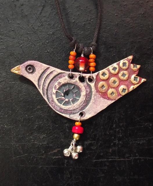 clay bird necklace