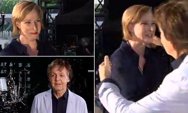 Touching moment Sir Paul McCartney gives a gushing Leigh Sales a hug