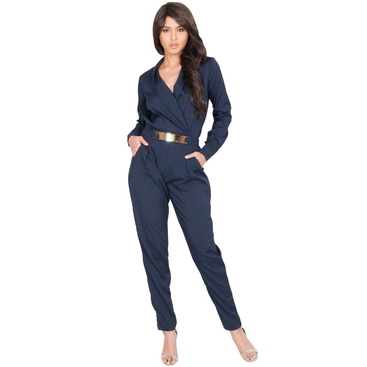 Radiate confidence in this ultra-chic formal jumpsuit. Its flattering crossover design and goldtone metallic belt adds flair to this unique piece. With two front pockets, this trendy jumpsuit is perfect for formal or casual occasions.