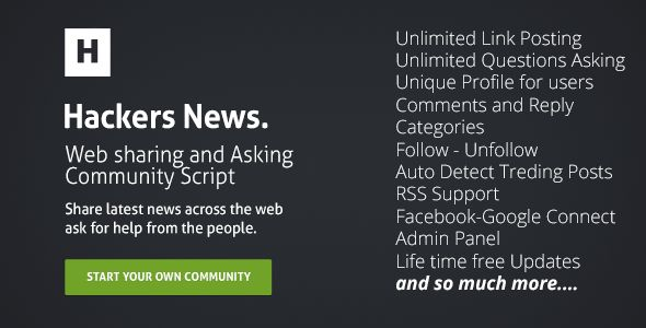 Hackers News : Community Script Start your own hackers community, share latest new from the web