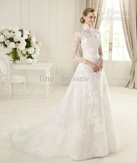 modest lacy high-necked Victorian wedding dress