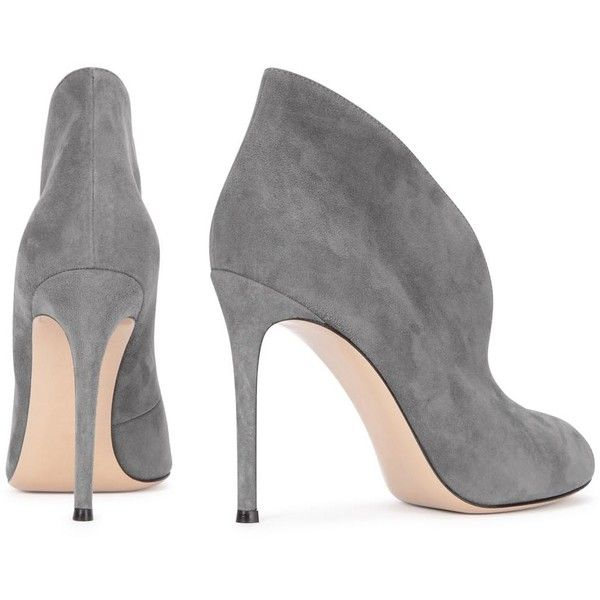 Womens Ankle Boots Gianvito Rossi Vamp Grey Suede Ankle Boots ($860) ❤ liked on Polyvore featuring shoes, boots, ankle booties, heels, gray suede boots, suede boots, high heel booties, peep toe bootie and gray booties