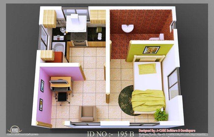 D Isometric Views Of Small House Plans Kerala Design Idea Modern House Plans Small House Interior Design Small House Interior Tiny House Interior Design Interior design plan for small house
