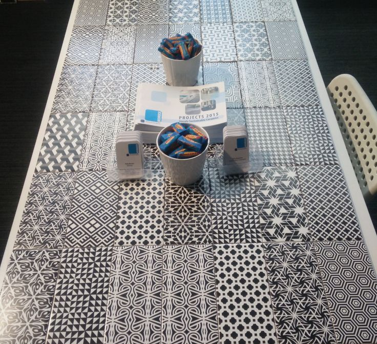 Graphic Tiled Table top Bedrock Tiles - Black And White Pattern Ceramic Wall Tiles