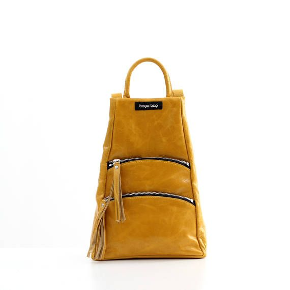 Small  mustard yellow backpack leather backpack backpack