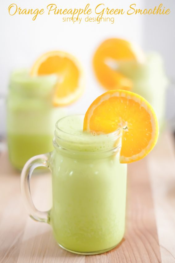 Orange Pineapple Green Smoothie Recipe - this is so simple and refreshing