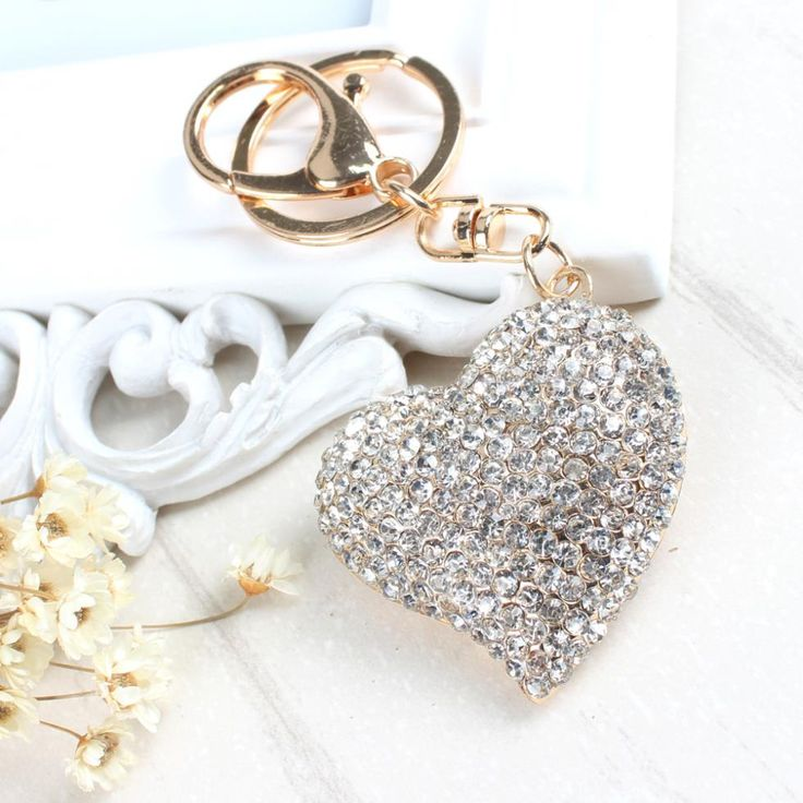 Sweet Peach Heart New Cute Crystal Charm Pendant Purse Bag Car Key Ring Chain Jewelry Gift Bling heart Pendant