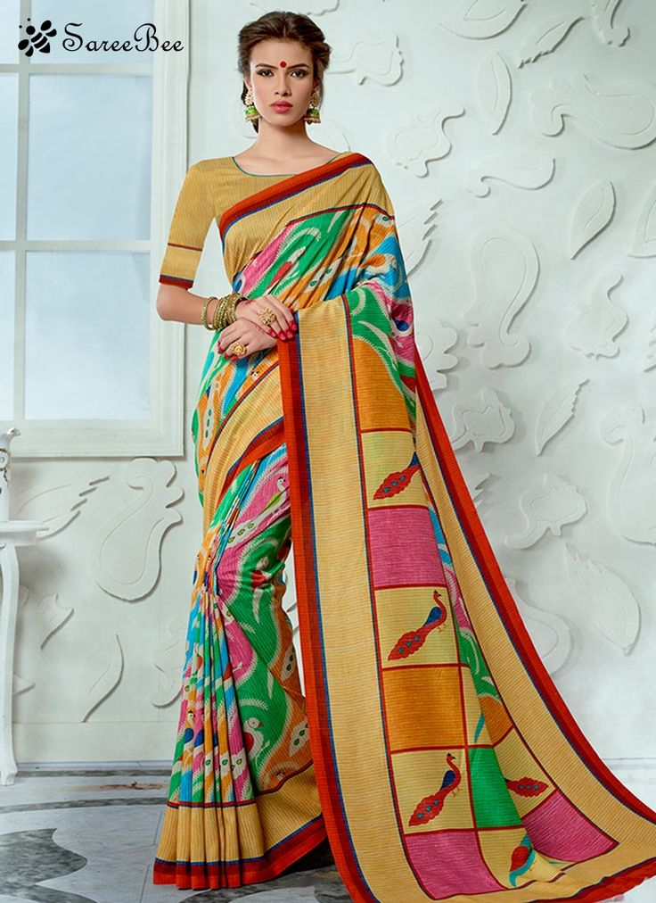 Perfervid Print Work Designer Traditional Saree  Make the heads turn the moment you dress up in this kind of a gorgeous multi colour tussar silk designer traditional saree. The print work looks chic and fantastic for any function. Comes with matching blouse.