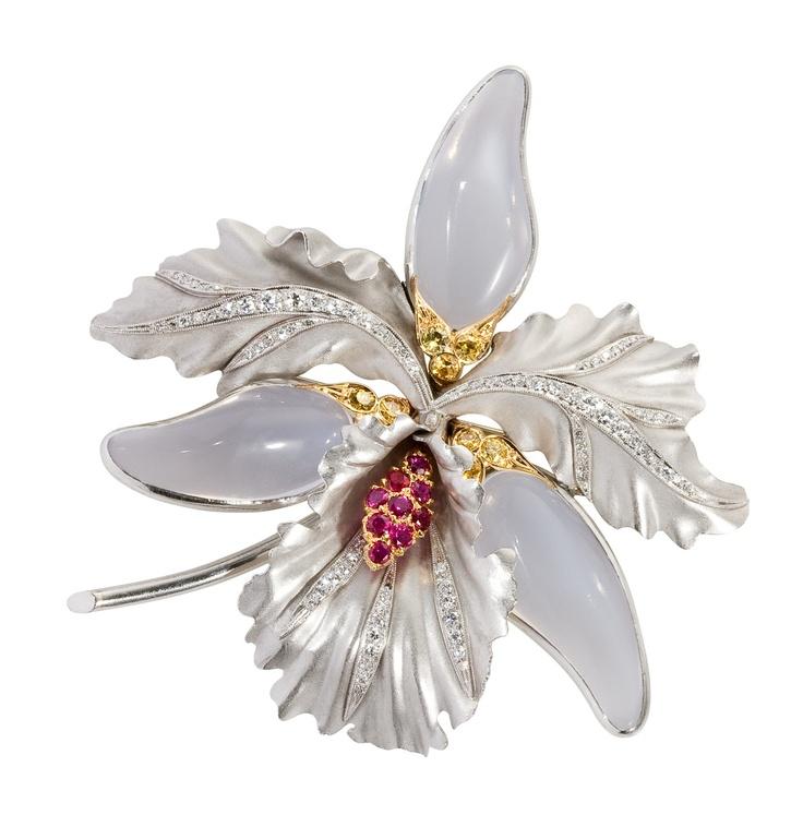 Orchid brooch, ruby, mooonstone & diamond