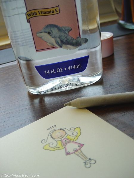Blending colored pencils with baby oil.