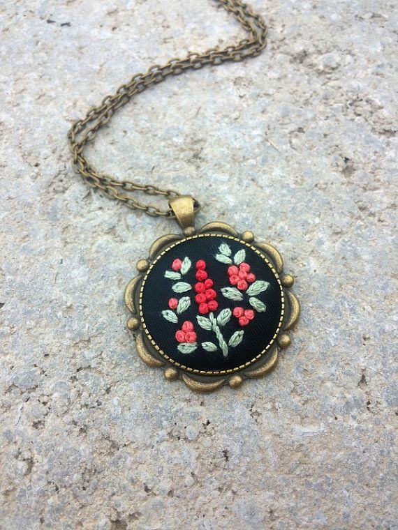 Hippie Fashion Necklace, Rustic Jewelry, Mint Green Apricot Flower Necklace  Feminine hand embroidered necklace in vintage style with spring
