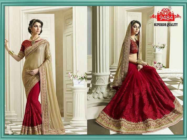 Red & Beige Bollywood saree online