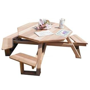 Red Cedar Handicap Accessible Walk-In Picnic Table has attached benches that provide ample seating and a shape that allows for conversation.