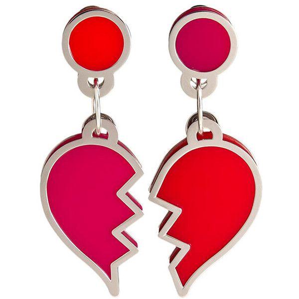 Broken Heart earrings (3,930 HNL) ❤ liked on Polyvore featuring jewelry, earrings, silver jewellery, heart jewellery, red heart jewelry, earring jewelry and heart shaped earrings