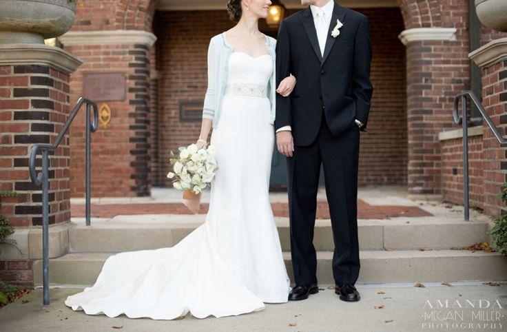 Lily Reid Holt Memorial Chapel » Amanda Megan Miller Photography, nicole miller, nicole miller gown, nicole miller dress, bride and groom, cardigan wedding dress, cardigan, white bouquet