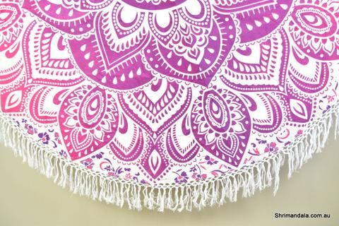 Passion Pink Ombre Mandala Beach Round Throw