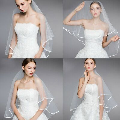(eBay Ad) Simple and Elegent Wedding Veil Bridal Tulle Veils with Lace Edge and Comb