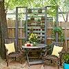 Love this-happy sitting!: Outdoor Inspiration, Lattice, Outdoor Living, Vertical Garden, Outdoor Spaces, Small Garden