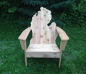 Michirondack Chairs are so sweet!  Can't wait to order one. http://www.michiganflycompany.com/michigan-shaped-adirondack-chairs/