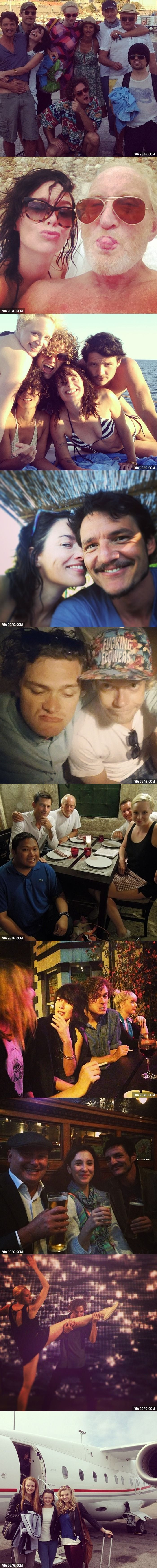 Just some people on vacation... wait, they are the cast from Game of Thrones!