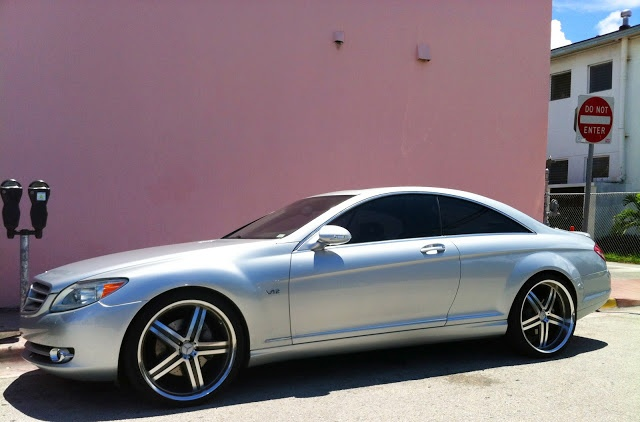 Silver / Grey Mercedes CL 600 with custom rims | Exotic Cars on the Streets of Miami