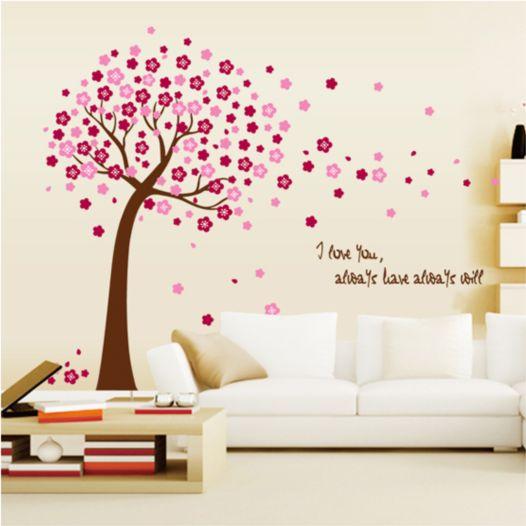 Hemdekor - Väggdekor Träd I Rosa Blomster
