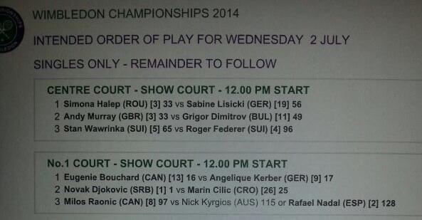 Tomorrow's schedule at Wimbledon