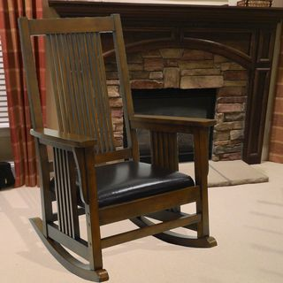 @Overstock - Montego Deluxe Mission Rocker Chair. Sit and relax in this deluxe Mission-style 'Montego' rocker chair. The classic mission design and antique chestnut finish will complement any room.http://www.overstock.com/Home-Garden/Montego-Deluxe-Mission-Rocker-Chair/7508807/product.html?CID=214117 $225.99